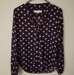 🆕️Ann Taylor, Loft, Heart Print, Dress Shirt